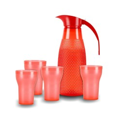 Oliveware Red Honey Comb Jug 1300 ML with 4 Glasses