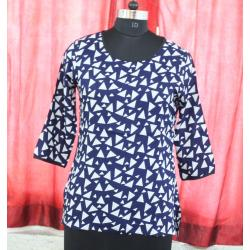 Round Neck 3/4 Sleeve Printed Cotton Black And Red Color Short Dressy Top