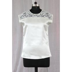 Round Neck Sleeveless Plane Welwet White and Black Color Formal Tops
