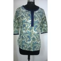 Round Neck 3/4 Sleeve Printed Cotton Blue Color Short Casual Kurti