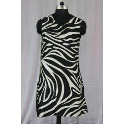 V Neck Sleeveless Zebra Printed Cotton Black and White Color Kurti