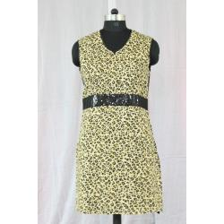V Neck Sleeveless Tiger Printed Cotton Kurti Yellow