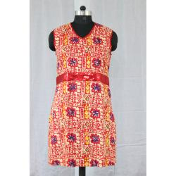 V Neck Sleeveless Printed Cotton Color Red Rayon Kurti