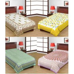 Saganeri and Jaipuri Printed Cotton Single Bedsheets Combo(No Pillow Cover)