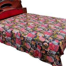 Purpal Flower Printed Double Bed Cover