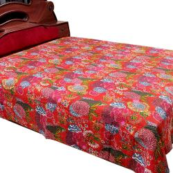 Red Flower Printed Double Bed Cover