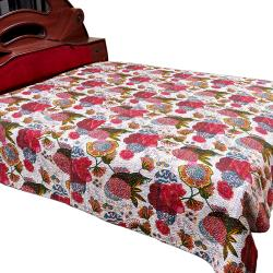 White Flower Printed Double Bed Cover