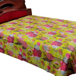 Green Flower Printed Double Bed Cover