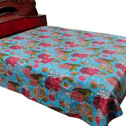 Sky Blue Flower Printed Double Bed Cover