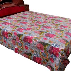 Gray Flower Printed Double Bed Cover