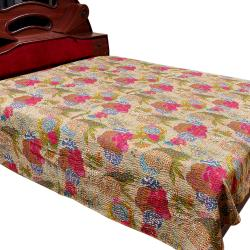 Multi Flower Printed Double Bed Cover