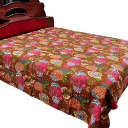 Brown Flower Printed Double Bed Cover