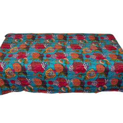 Sky Blue Flower Printed Single Bed Cover