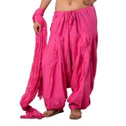 Pink Plain Dye Patiala Salwar Dupatta Set