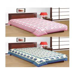 Saganeri & Jaipuri Printed Cotton Single Bedsheets Combo (No Pillow Covers) 2
