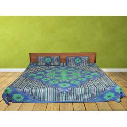 Blue Color Flower Printed Double Bed Sheet  Free 2 Pillow Cover
