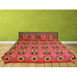 Red & Black  Flower Printed Double Bed Sheet Free 2 Pillow Cover