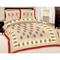 Booti Printed Double Bed Sheet With 2 Pillow Cover 1