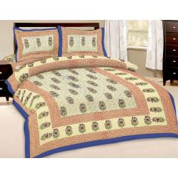 Booti Printed Double Bed Sheet With 2 Pillow Cover 2