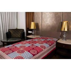 Kismat Collection Jaipuri Printed New Traditional Checkered Single Bed Sheet