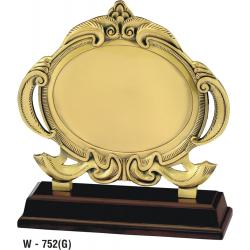 Gold Plated Metal Plaque on Wooden Base