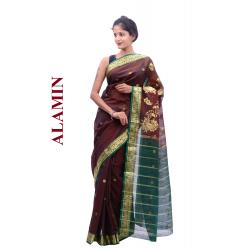 Cotton Brown Saree - ALMN