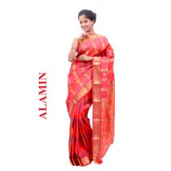 Silk Bright Orange Saree - ALMN