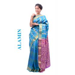 Silk Dark Sky Blue Saree - ALMN