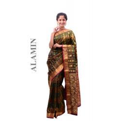 Silk Dark Multicolor Saree - ALMN