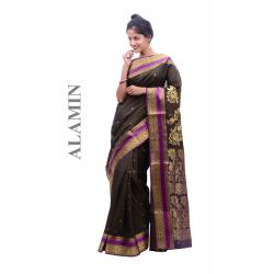 Silk Burgundy Saree - ALMN