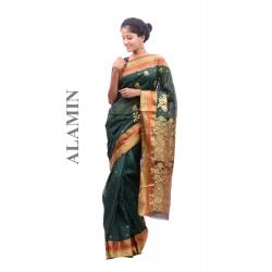 Silk Hunter Green Saree - ALMN