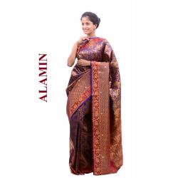 Silk Blue Saree - ALMN