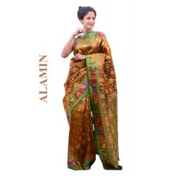 Silk Golden Saree - ALMN