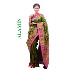 Silk Green Saree - ALMN