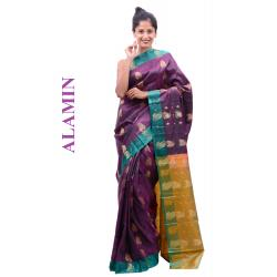 Silk Plum Saree - ALMN