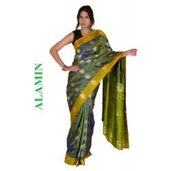 Silk Moss Green 3D Saree - ALMN
