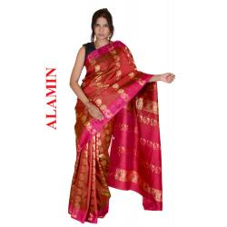 Silk Bright Red 3D Saree - ALMN