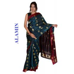 Silk Dark Navy 3D Saree - ALMN
