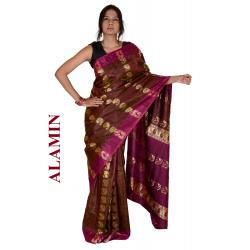 Silk Dusty Rose 3D Saree - ALMN