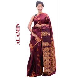 Silk Mahroon Saree - ALMN