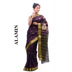 Cotton Plum Saree - ALMN