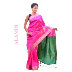 Silk Light Magenta Saree - ALMN