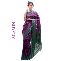 Silk Dark Magenta Saree - ALMN