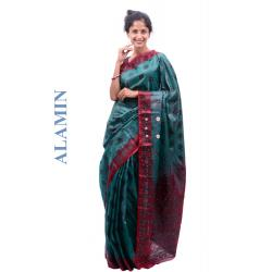 Silk Light Hunter Green Saree - ALMN
