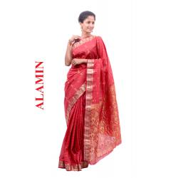 Silk Peach Saree - ALMN