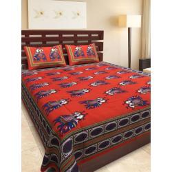 Sanganeri Jaipuri Rajasthani Printed Double Bedsheet THH-153