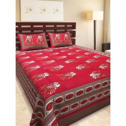 Sanganeri Jaipuri Rajasthani Printed Double Bedsheet THH-154