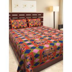 Sanganeri Jaipuri Rajasthani Printed Double Bedsheet THH-155