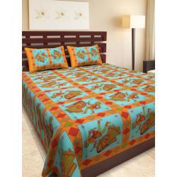 Sanganeri Jaipuri Rajasthani Printed Double Bedsheet THH-157