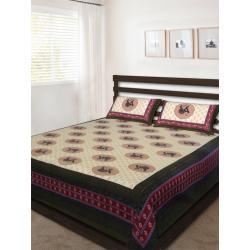 Sanganeri Jaipuri Rajasthani Printed Double Bedsheet THH-159
